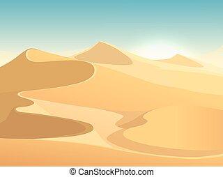 エジプト人, 砂丘, ベクトル, 背景, 砂漠の 景色
