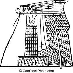 エジプト人, engraving., 型, エプロン