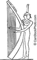 エジプト人, engraving., harpist, 型
