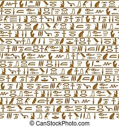 エジプト人, patte, 象形文字, seamless