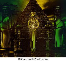 エジプト人, temple., 忘れられない, digitalart