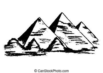 エジプト人, vector., ピラミッド