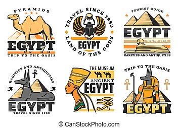 エジプト, アイコン, 旅行, スフィンクス, ピラミッド