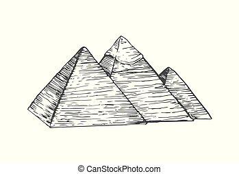 エジプト, イラスト, ピラミッド