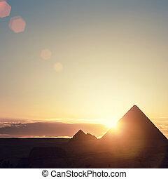 エジプト, カイロ, giza., -, 将官, ピラミッド, 光景