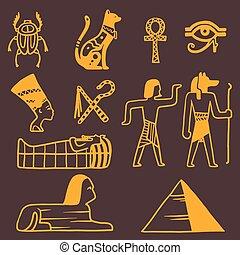エジプト, シンボル, 旅行, ベクトル, アイコン