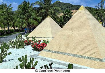 エジプト, ピラミッド, 正面図, 側