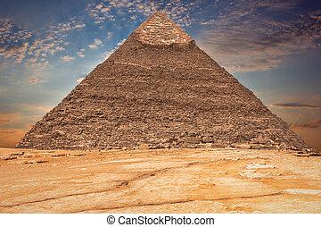 エジプト, ピラミッド, 雲, khafre