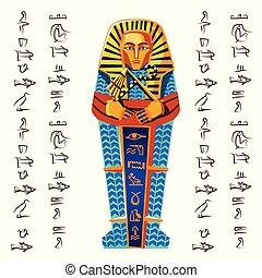 エジプト, ベクトル, 古代, ファラオ, 石棺