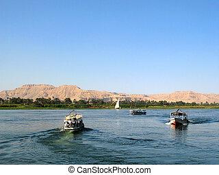 エジプト, ボート, 川, ナイル