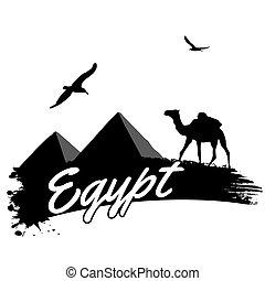 エジプト, ポスター, レトロ