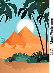 エジプト, 光景, 日没, 砂漠, ピラミッド