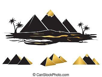 エジプト, 古代, シルエット, セット