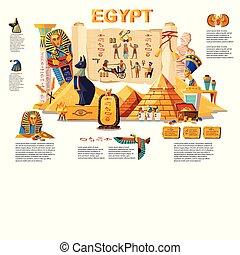 エジプト, 古代, 旅行, 概念, infographic