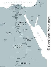 エジプト, 地図, 古代, 有色人種, 灰色