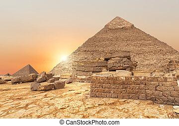 エジプト, 夕方, ピラミッド, khafre, 光景