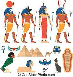 エジプト, 平ら, ベクトル, セット, シンボル