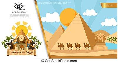 エジプト, 平ら, 旅行, カラフルである, テンプレート
