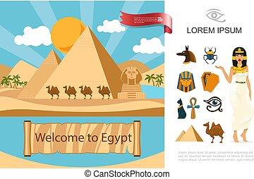 エジプト, 平ら, 概念, 観光客