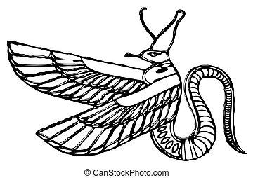 エジプト, 悪魔, 古代, -, ドラゴン