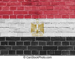 エジプト, 政治, concept:, エジプトの旗, 壁