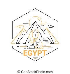 エジプト, 旅行, 現代, -, イラスト, ベクトル, 線