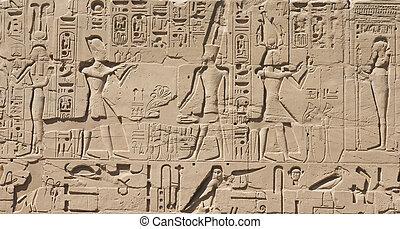 エジプト, 石, 古い, 象形文字, 刻まれた