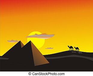 エジプト, 砂漠, 日没