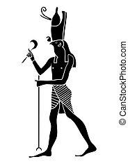 エジプト, 神, 古代, -, horus