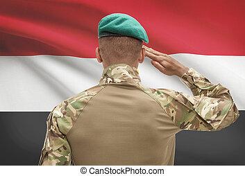 エジプト, 肌が黒, -, 兵士, 旗, 背景