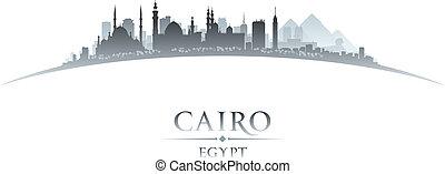 エジプト, 背景, カイロ, スカイライン, 都市, シルエット, 白