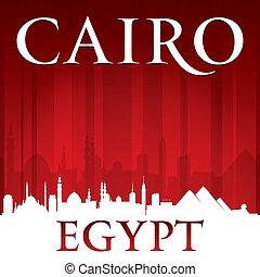 エジプト, 背景, カイロ, スカイライン, 都市, 赤, シルエット