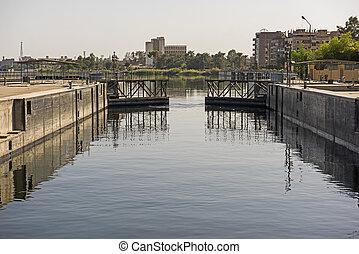 エジプト, 錠, ナイル, 大きい, 川の景色, 光景