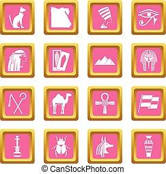 エジプト, 項目, 旅行, ピンク, アイコン