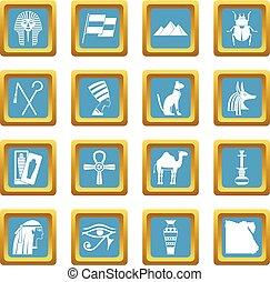 エジプト, 項目, 旅行, 空色, アイコン