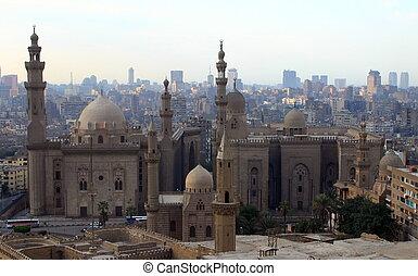 エジプト, cairo., 都市の景観, モスク, hasan, サルタン