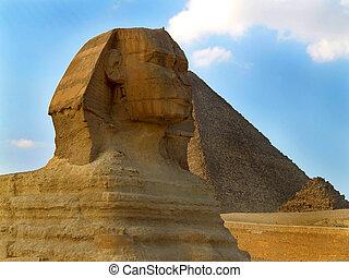 エジプト, giza., sphinx.