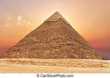 エジプト, khafre, ピラミッド, 日没, ギザ