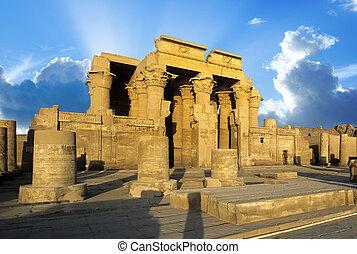 エジプト, ombo, kom, 寺院, ナイル