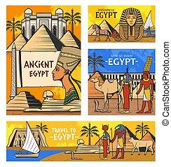 エジプト, pyramids., 旅行, エジプト人, 古代, 神