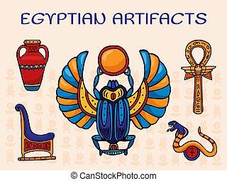 エジプト scarab, リング, ヘビ, 古代, 交差点, シンボル, 人工物, throne., ankh, 神聖, つぼ, セット, ベクトル, エジプト人, illustration., 装飾