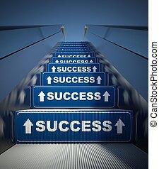 エスカレーター, 成功, 階段, 概念, 引っ越し