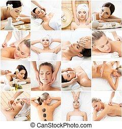 エステ, 伝統的である, 女性がリラックスする, 得ること, コラージュ, concept., 若い, 香り, treatments., 健康, 療法, ヘルスケア, 薬, 東洋の少女, salon., マッサージ
