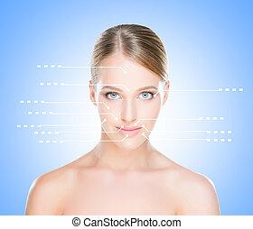 エステ, 女性の指すこと, 彼女, 健康, concept., 矢, 若い, 顔, areas., 肖像画, 手術, プラスチック