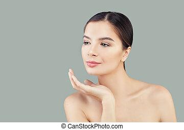 エステ, 女, 健康, ゆとり, 若い, かなり, 皮膚, 肖像画, モデル
