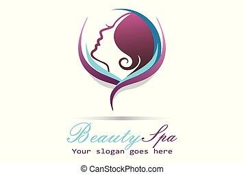 エステ, 女, 美しさ, ロゴ