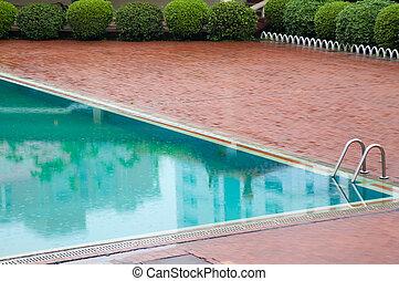 エステ, 屋外で, pool., 水泳