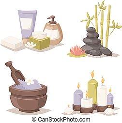 エステ, 有機体である, ラベンダー, 待遇, 入浴塩, 美しさ, wellness, 療法, vector., ボール
