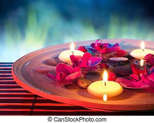 エステ, 浮く, 皿, 蝋燭