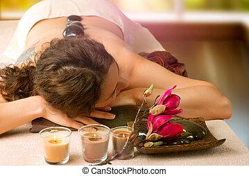 エステ, 石, salon., dayspa, massage.